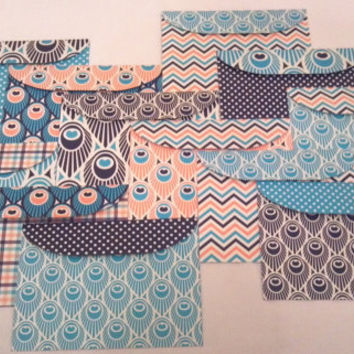 Handmade 5x7 Envelopes Set of 12 Blue Peacock- Scrapbook Paper Designs