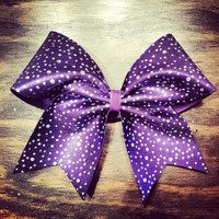 purple with silver dots cheer bow