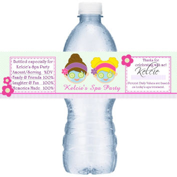 Personalized Spa Birthday Party Water Label Favors