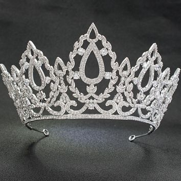 Big CZ Cubic Zirconia Wedding Bridal Silver Tiara Diadem Crown Women Prom Hair Accessories