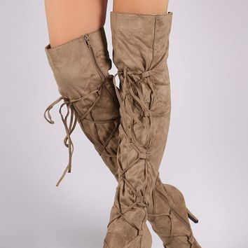 Suede Corset Lace-Up Stiletto Over-The-Knee Boots