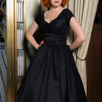 Ava Swing Dress in Black Taffeta