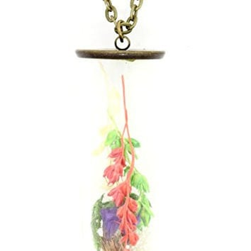 Sealed Vial Bottle Necklace Antique Gold Tone Herb Sprig Pendant NT57 Fashion Jewelry