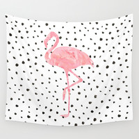 Flamingo Art print, Pink, Glam, Dalmatian, Tropical, Nursery, Living Room Wall Tapestry by PeachAndGold