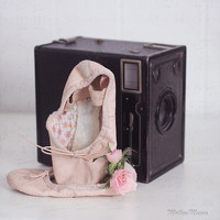 Ballet Art, Ballet Slippers Photo, Little Girls Room Decor, Vintage Camera Art, Pink Black, Tiny Dancer Nursery Decor