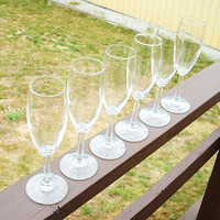 Vintage Wine Glass Set Of Six Crystal Drinking Cocktail Brandy Dinner Party Stemware Toasting