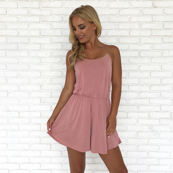 Suede Ways Romper In Pink