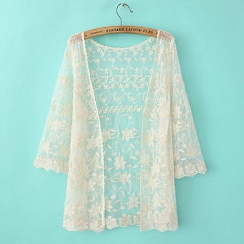 Floral Lace Mesh See Through Long-Sleeve Cardigan