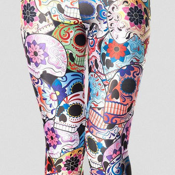 Hot Sexy X-017 2014 New Day of the Dead Leggings Digital Print Pants Plus Size S M L XL