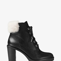 Kim Leather and Shearling Lace-Up Boot | Michael Kors