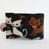 Obi bracelet Cat - japanese fabric 100% cotton - pink, blue and brown bracelet with cats