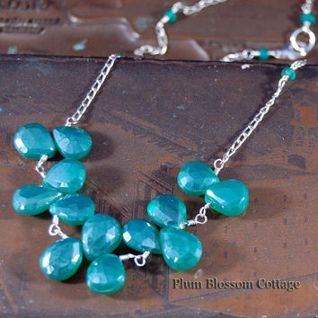 Mystic Green Onyx Faceted Briolette Wire Wrapped Necklace Sterling Silver