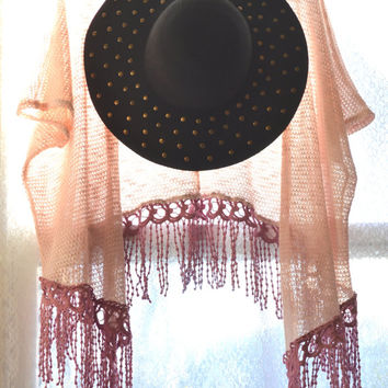 Fringed Kimono Jacket, Stevie Nicks style Vintage Bohemian Gypsy Wrap Boho clothing, Music festival top, Retro Hippie, True rebel clothing