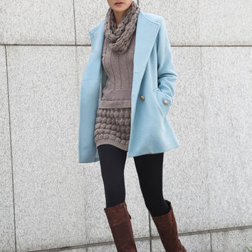 Fashionable Slim Body Fitted Cashmere Coat Wool Winter Coat For Women in Light Blue- Custom Made - NC410