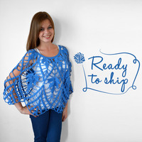 FREE SHIPPING Crochet poncho Blue shawl Handmade poncho Hand knitted cotton poncho Denim blue Summer pure cotton overcoat Ready to ship