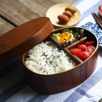 Japanese Wood Bento Box Lunchbox Wooden Small Lunch Box Fruit Sushi Food Box Travel Office School Kids Food Container Dinnerware
