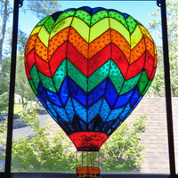"Hot Air Balloon art 8""x10"" Glass painting Sun catcher Wall decor"