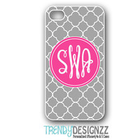 iPhone case, Personalized iPhone case, iPhone 4 case, iPhone 5 case, Monogram Case, Pink Monogram Gray Trellis, Personalized Phone Cover