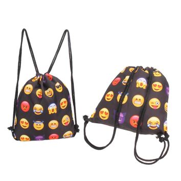 Emoji Backpack 3D Printing Travel Softback Mochila Drawstring Backpacks Outdoor Sports Waterproof Backpacks Color Swimming Bags