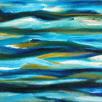 Turquoise and blue abstract oil painting on canvas - original painting, colorful painting, oil on canvas, Turquoise Sea, turquoise painting