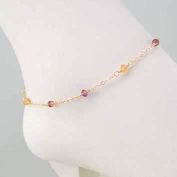 NEW Gemstone Ankle Bracelet, Garnet Rhodolite Imperial Topaz Jewelry, Sterling Silver or Gold Anklet, Plus Size Available, Free Shipping