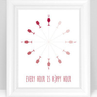 Ombre Wine Art Print - Every Hour is Happy Hour Clock Dining Room / Kitchen Modern Decor - 8x10 Dining Room Wine Glass Art - Wine Red