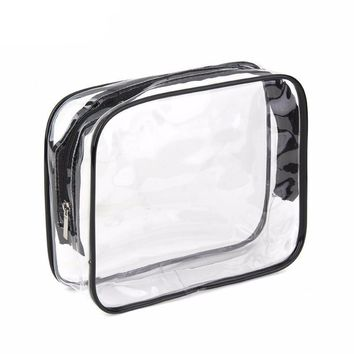 Environmental Protection PVC Transparent Cosmetic Bag Women Travel Make up Toiletry Bags