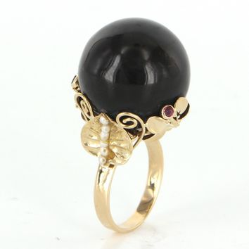 Vintage Onyx Pearl Amethyst 18 Karat Yellow Gold Large Cocktail Ring Estate Flower 8