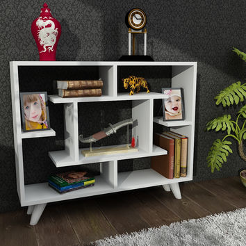 Bell White Contemporary Sectional Bookcase