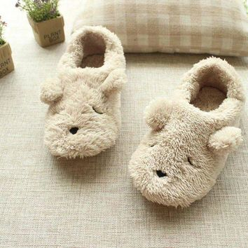 Hot sale free shipping Cartoon plush bear autumn and winter at home slippers women cut