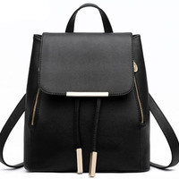 Vintage Black Leather Tassel Travel Bag Backpack