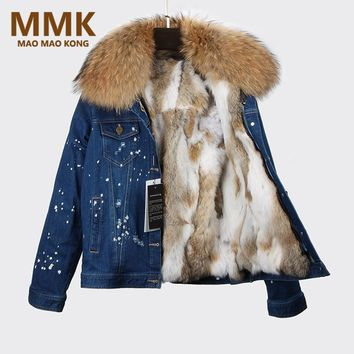 2017 Parka Winter Women Denim Jacket Real Large Raccoon Fur Collar With Rabbit Fur Lining Outwear Removable Brand Style