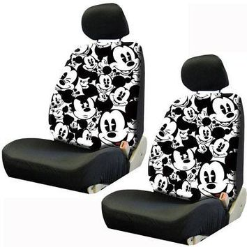 Licensed Official Disney Mickey Mouse Expression Car Truck Front Seat Covers & Headrest Covers Set