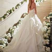 [189.99] Fabulous Organza Spaghetti Straps Neckline A-line Wedding Dresses With Lace Appliques - dressilyme.com