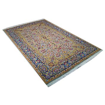 Oriental Kirman Floral Delight Classic Persian Rug, Yellow/Blue