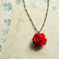 Red Rose Necklace Flower Pendant Floral by apocketofposies on Etsy