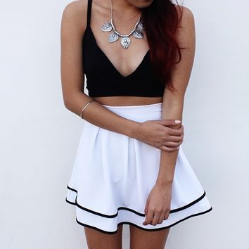 Black Camisole And White A Line Skirt Two Piece Dress B007547