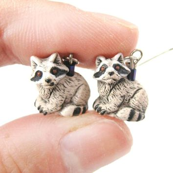 Realistic Raccoon Shaped Porcelain Ceramic Animal Dangle Earrings | Handmade