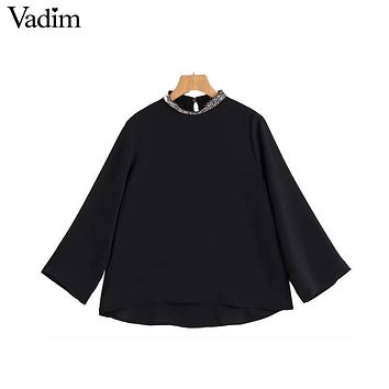 Vadim vintage beading jewelry collar black shirts o neck three quarter sleeve blouses ladies retro casual top blusas LT2438