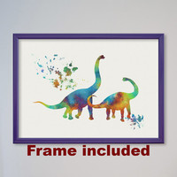 Dinosaur Poster Brachiosaurus Watercolor Nursery Art Print Home Wall Decor Animal Jurassic Art Children Birthday Gift Dino Family FRAMED