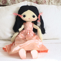 "Large 32"" Vintage Doll Yarn Doll Handmade Doll Anime Doll Big Eyed Doll Play Doll Child Sized Doll Play Doll Gift for Girl Black Hair"