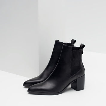 347b50a68fea8 HIGH HEEL LEATHER ANKLE BOOTS WITH STRETCH DETAIL
