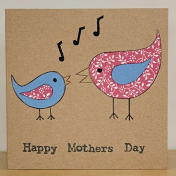 Mother's Day Card - Handcrafted Card - Fabric Bird Card - Handmade Cute Mother's Day Card - Card for Mum - Happy Mothers Day Gift