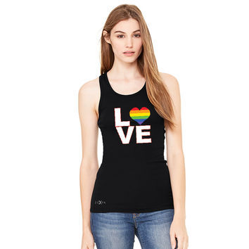 Zexpa Apparel™ Love is Love - Love Wins Rainbow Women's Racerback Pride LGBT Sleeveless
