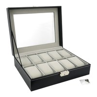 Felji 10-Slot Mens Watch Box Leather Display Case Organizer Black
