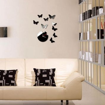 2015 Butterfly DIY Acrylic 3D Mirror Wall Decal Wall Sticker Home Decoration