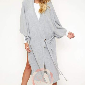 Wrap Kimono Sweater Coat with Hood