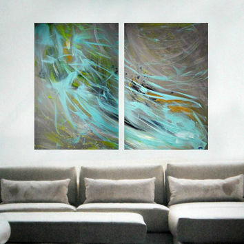 Extra large wall art - Original Large Abstract Painting - Blue Abstract art on canvas - Diptych Art - Title: PURE and LUMINOUS MIND