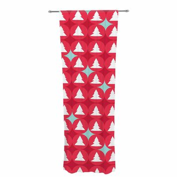 "bruxamagica ""Christmas Tree Pattern"" Red Blue Abstract Holiday Digital Vector Decorative Sheer Curtain"