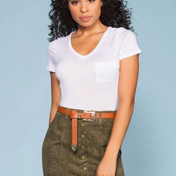 Sara Snap Front Corduroy Skirt - Olive